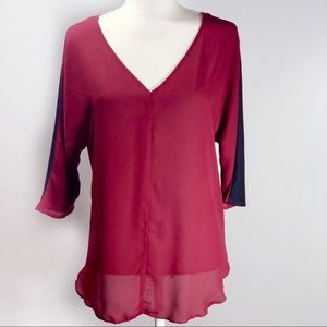 BKE Boutique Buckle Burgundy Open Back Strappy Top